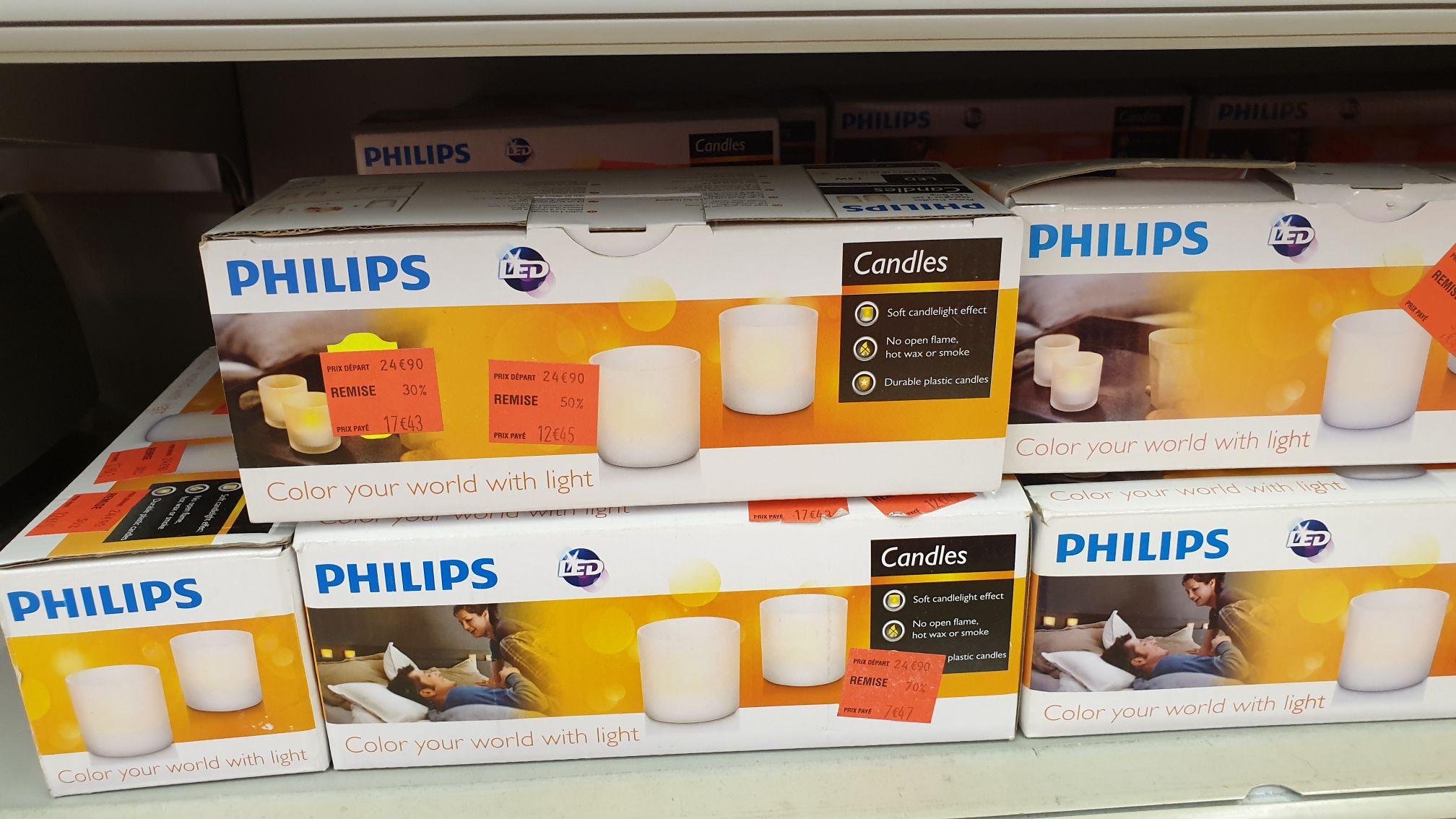 Lot de 3 photophores électriques et rechargeables Philips Candles - Carrefour Le mans (72)