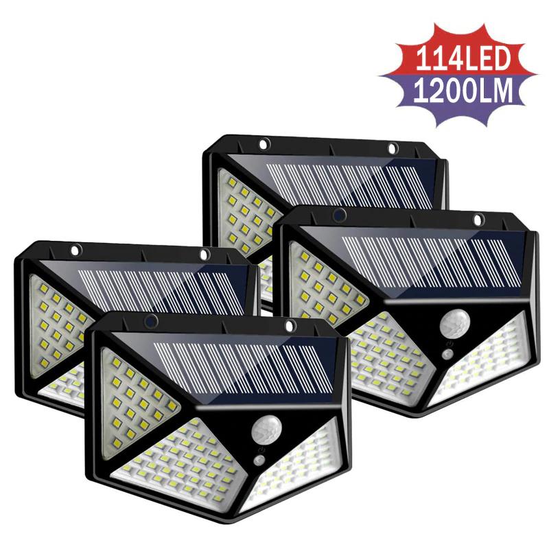 Lot de 4 lumières solaires d'extérieur Oobest - 114 LEDs