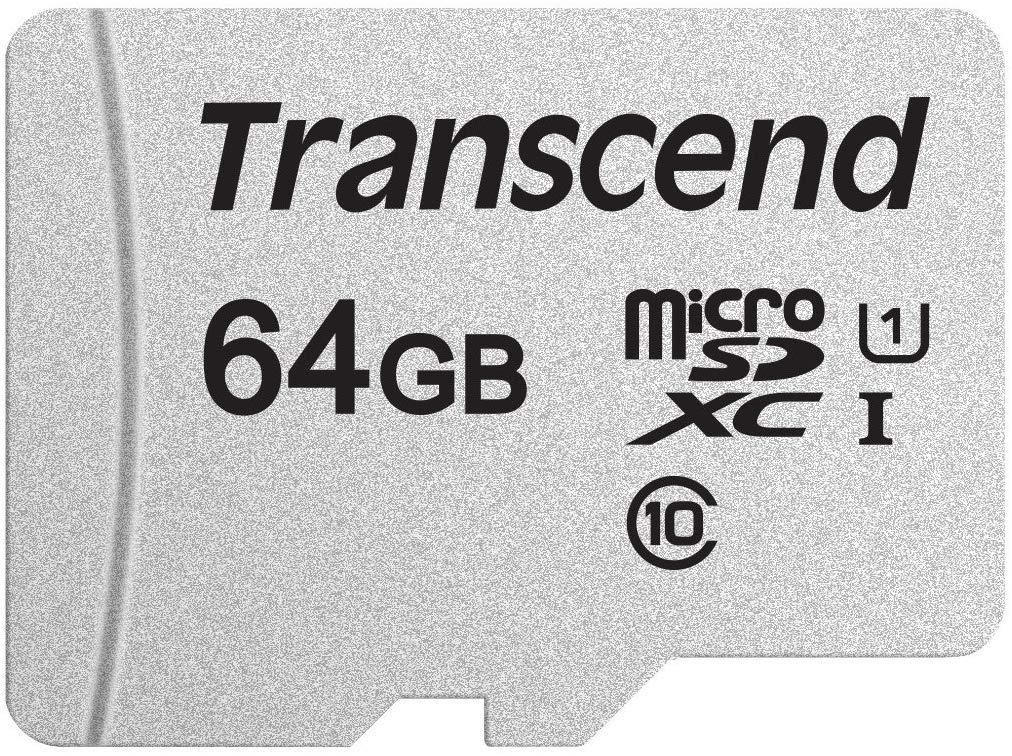 Carte mémoire microSDXC 300S Transcend - 64Go, Class 10, U1, 95MB/s (Vendeur tiers))
