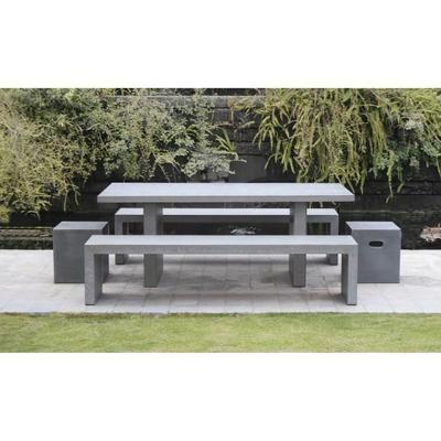Ensemble repas de jardin en fibre de ciment Laure - 200 x 90 cm