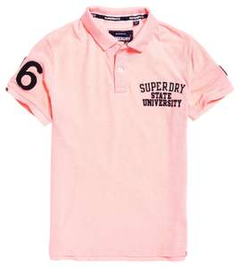 Polo manches courtes Homme Superdry Classic Superstate Pique - Rose (Tailles S à L)