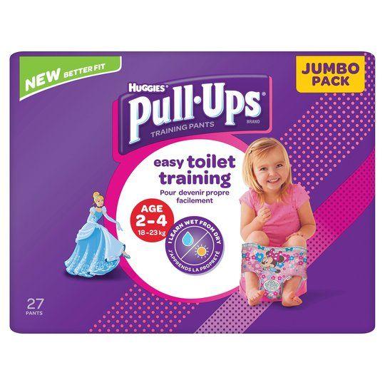 Lot de 2 paquets de couches Huggies pull-up fille ou garçon -18 à 23 kg, Pack de 27