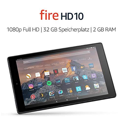"""Tablette tactile 10"""" Amazon Fire HD - Full HD, 2 Go de RAM, 32 Go, Noir (Version 64 Go en description)"""