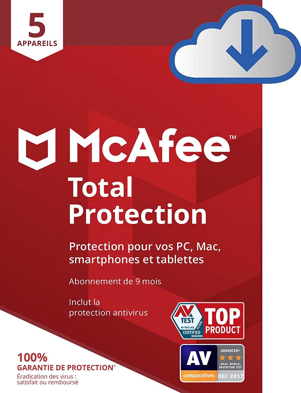 Sélection de logiciels anti-virus McAfee Total Protection 2020 en promotion (dématérialisés) - Ex : licence de 9 mois, 5 appareils