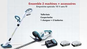 Pack Makita Taille-haie + Coupe bordure 18V
