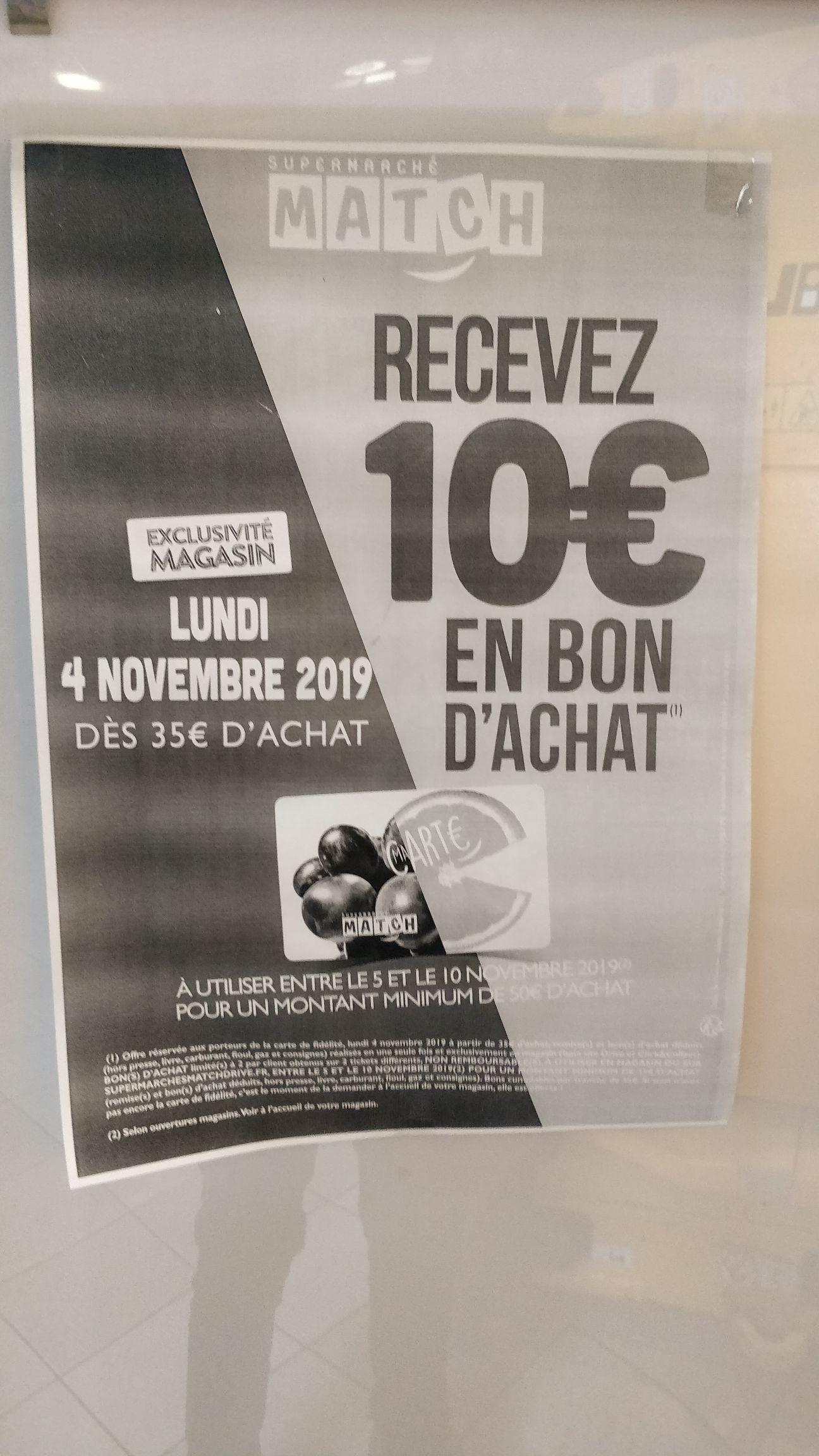 10€ offerts en bon d'achat dès 35€ d'achat - Magasin Match Amiens Gare (80)