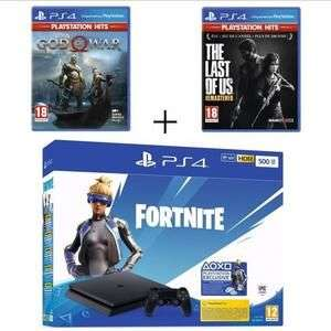 Pack console Sony PS4 Slim (500 Go) + bundle Fortnite (dématérialisé) + God of War - Édition PS Hits + The Last of Us - Édition PS Hits
