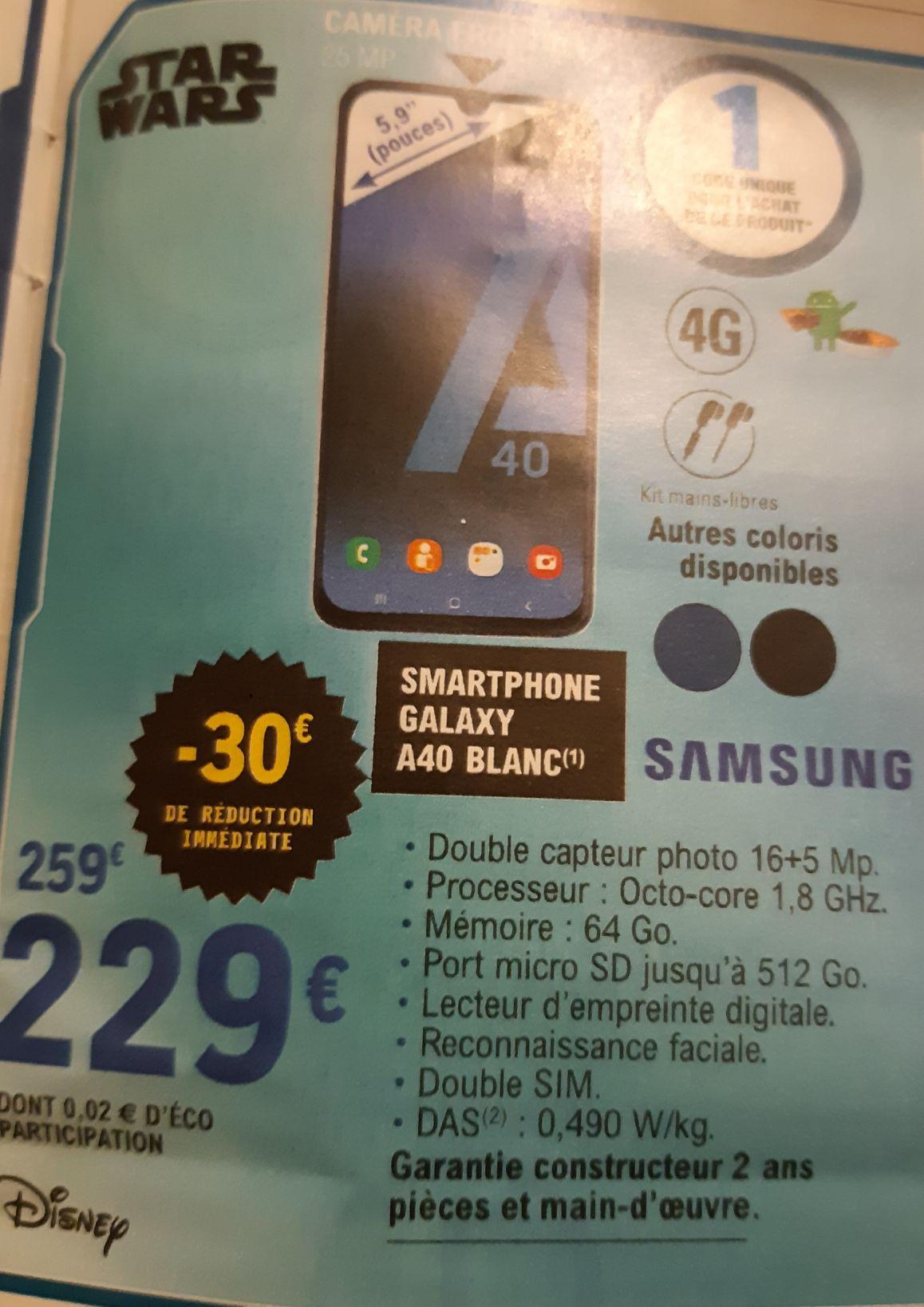 """Smartphone 5.9"""" Samsung Galaxy A40 - Full HD+, Exynos 7904, 4 Go RAM, 64 Go"""
