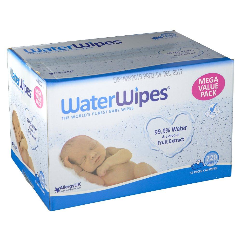 Lot de 12 paquets de 60 lingettes imprégnées WaterWipes (shop-pharmacie.fr)