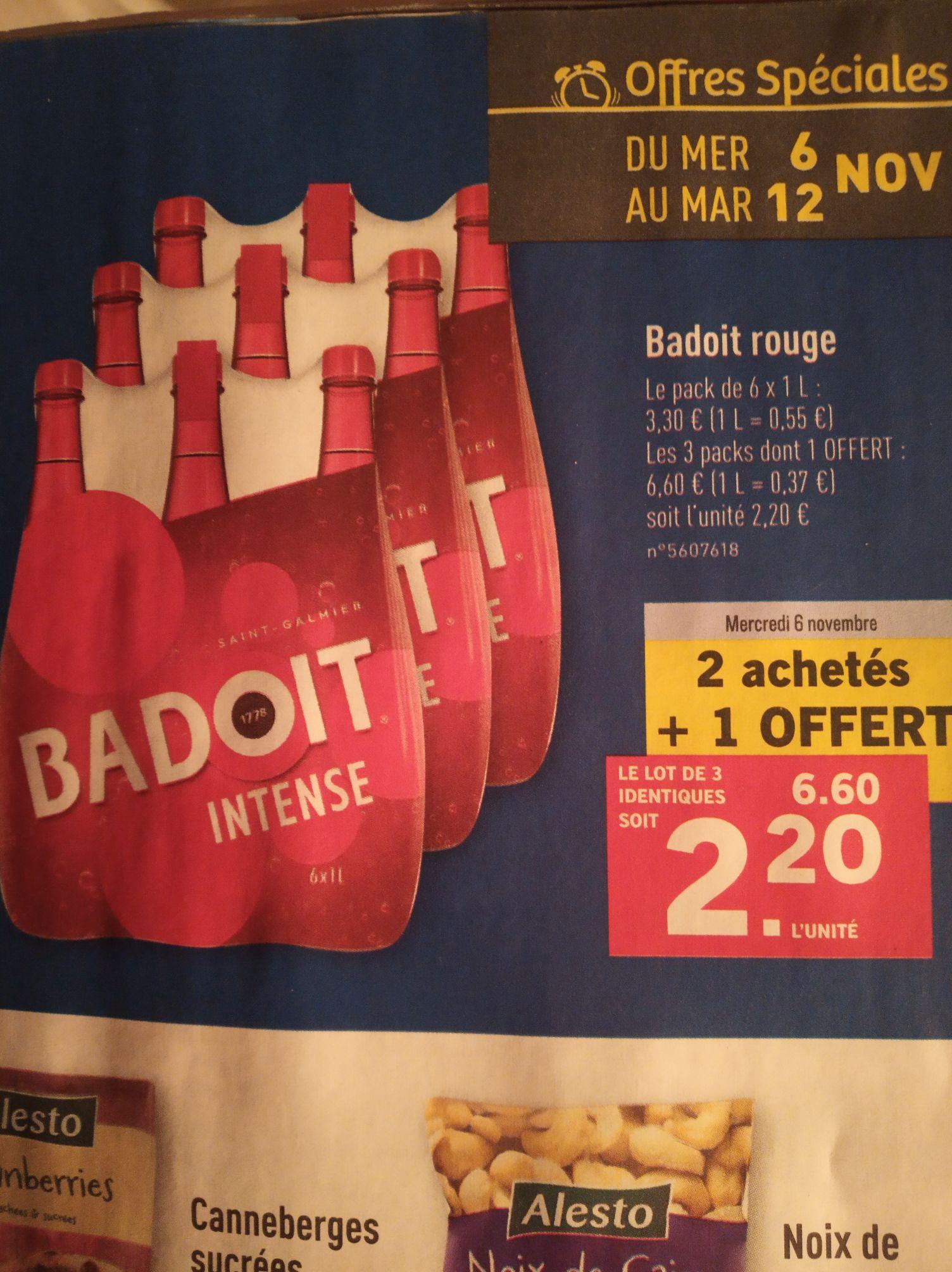 Lot de 3 packs de 6 bouteilles de Badoit Rouge - 3 x 6 x 1 L (Via ODR 100% sur un produit)