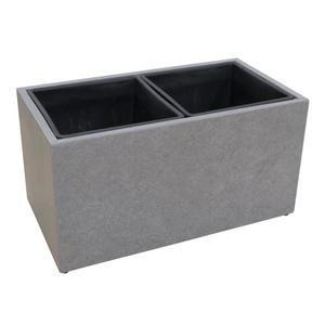 Cache-pot Fleurs ou Arbustes en fibre de ciment - 37x69x37cm - Gris