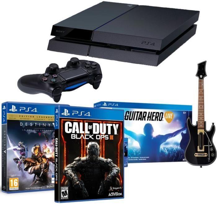 Pack Console PS4 Noire/Blanche 500Go + COD Black Ops 3 + Destiny: Le roi des corrompus + Guitar Hero Live