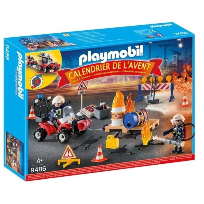 Jouet Playmobil Calendrier de l'Avent Pompiers incendie chantier - 9486