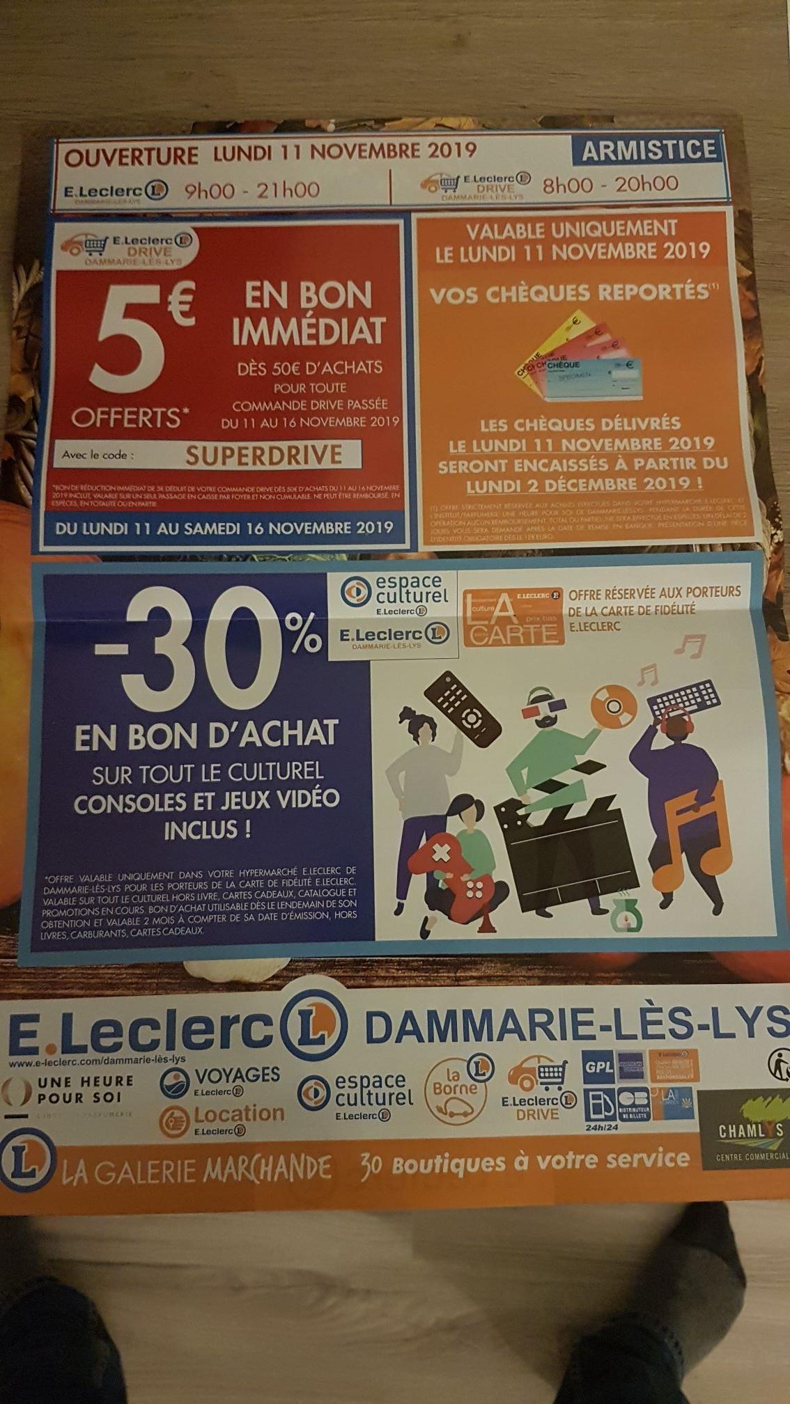 30% remboursés en bon d'achat sur l'Espace Culturel - Dammarie-les-Lys (77)