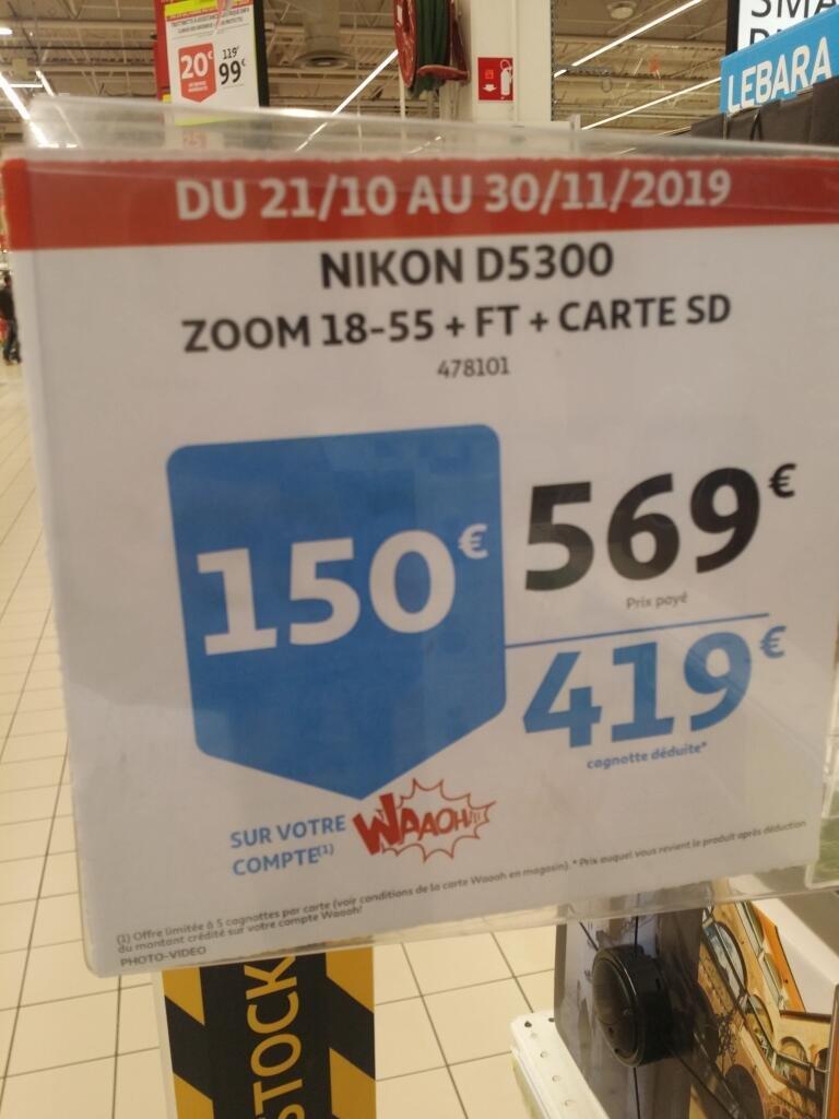 Sélection d'appareils photos Nikon et Canon en promotion - Ex : Nikon D5300 (via 150€ fidélité) - Auchan Dardilly (69)