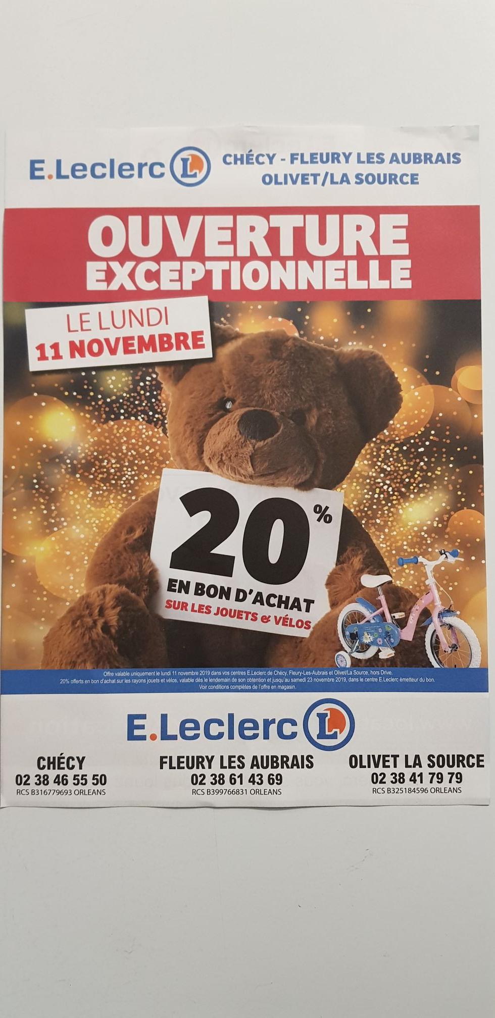 20% remboursés en bon d'achat sur les Jouets & Vélos (45)