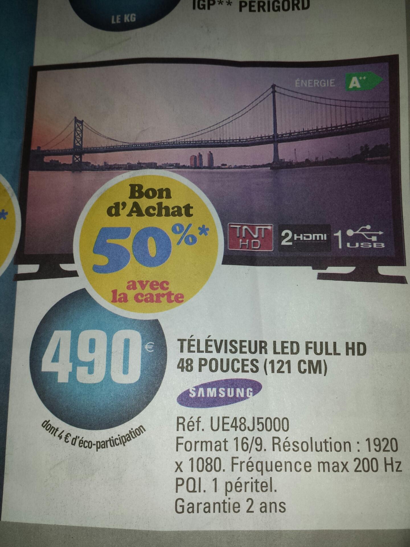 """Jusqu'à 50% de remise fidélité sur une sélection d'articles - Ex :  TV 48""""  Samsung UE48J5000 - Full HD - Led  (245€ sur la carte)"""