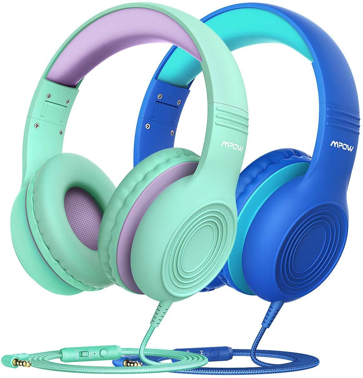 Lot de 2 Casques audio filaires Mpow CH6 pour Enfants (Limiteur de volume ON/OFF) avec Microphone intégré - Bleu + Vert (Vendeur tiers)