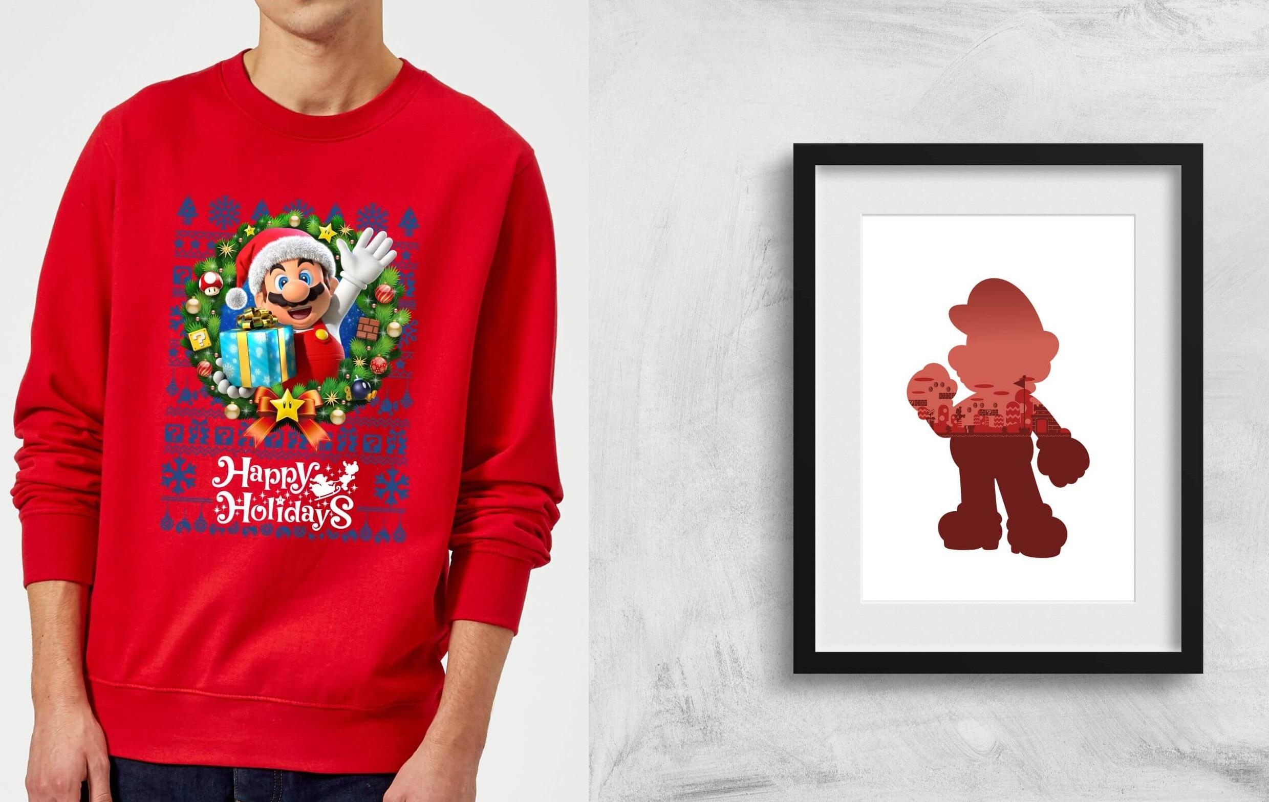 Sélection de Pulls de Noël Nintendo + poster Nintendo offert et livraison gratuite - Ex : Pull Mario Happy Holidays + Poster Super Mario