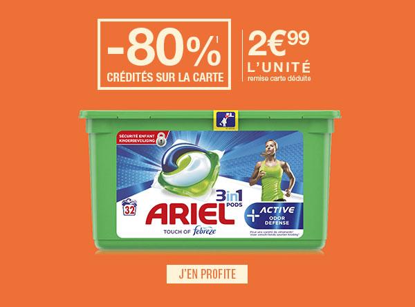 Boîte de 32 capsules de lessive liquide Ariel 3-in-1 Pods - différentes variétés (via BDR + 11.96€ sur la carte de fidélité)