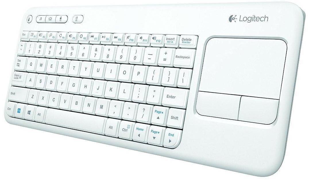 Clavier sans fil Logitech K400 pour TV, PC, Media Center (Touchpad intégré) - Blanc