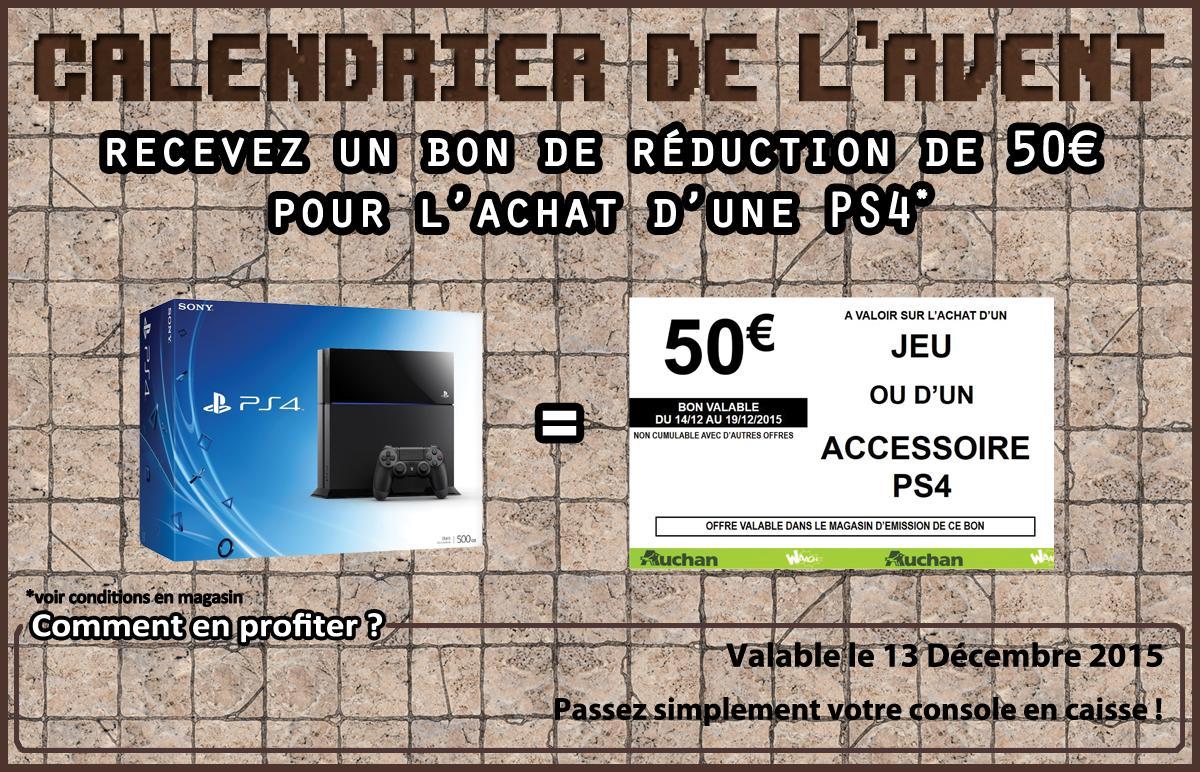 Console Sony PS4 500 Go Noire ou blanche  (+ un bon de réduction de 50€ sur le rayon jeux-vidéo)