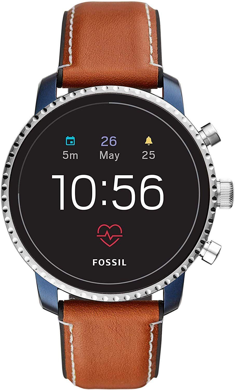 Montre Connectée Fossil Explorist HR pour Hommes - 4ème génération, Bracelet en cuir, Boîtier 45mm