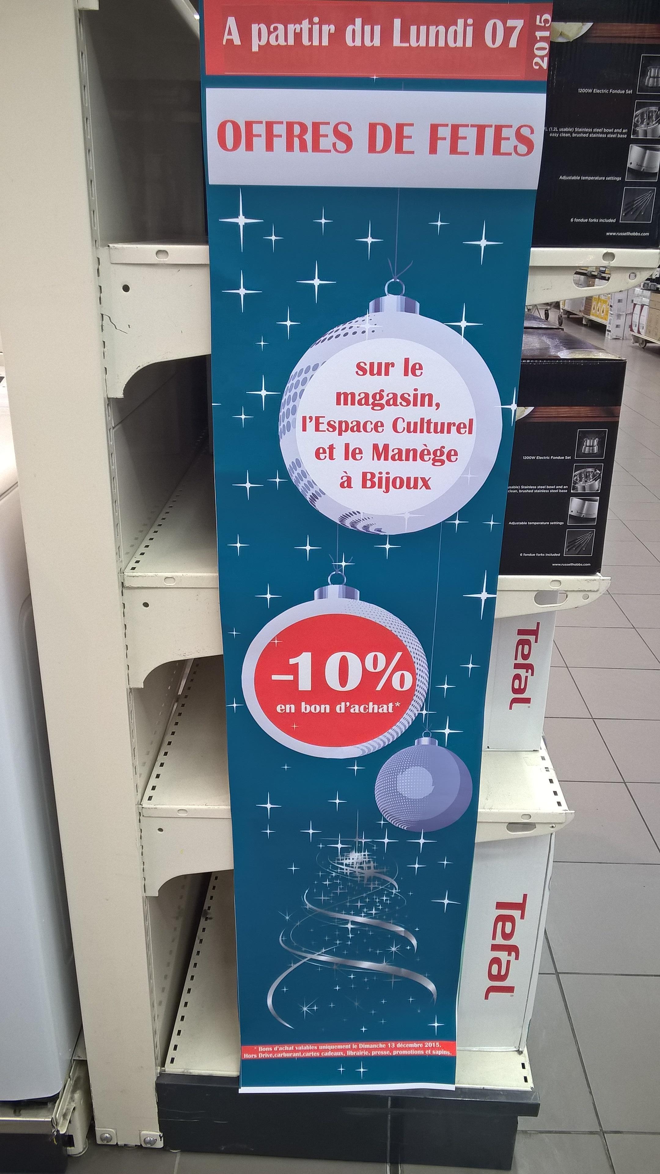 10% de réduction en bon d'achat