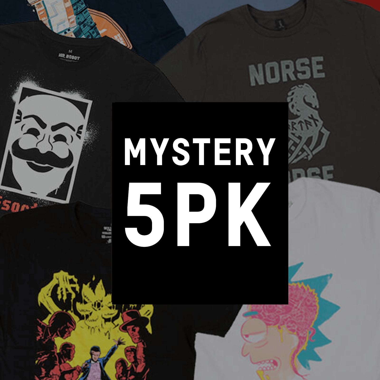 Lot de 5 T-Shirts Geek Mystère + Cadeau au choix