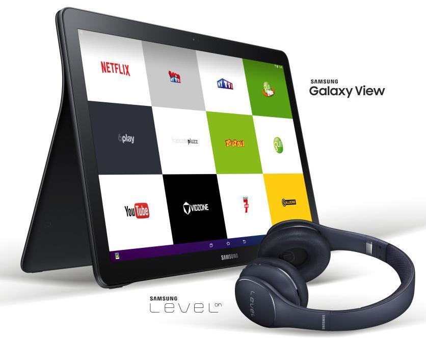 "[Adhérent] Tablette 18,4"" Samsung Galaxy View (32 Go, Wi-Fi, Noire) + Casque Bluetooth Samsung Level On offert"