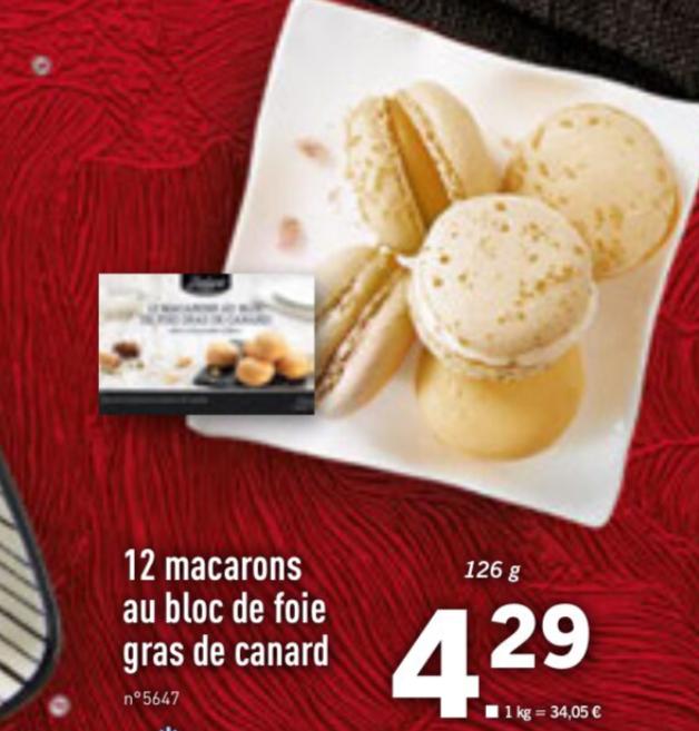 12 macarons au bloc de foie gras de canard