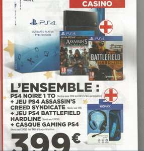 Console Sony PS4 1 To (CUH1216B) + Assassin's Creed Syndicate + Battlefield Hardline + Casque Gaming Koning