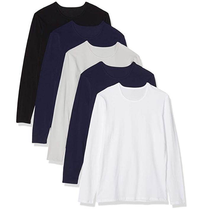 Lot de 5 T- Shirt Manches Longues pour Homme - Noir ou Assortiment (Plusieurs tailles)