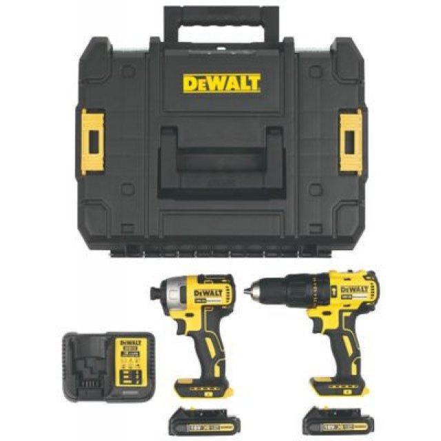 Pack Dewalt Brushless 18V - Perceuse à percussion DCD778 (65Nm), visseuse à choc DCF787 (170Nm), 2 batteries 1.5Ah, chargeur, TSTAK box