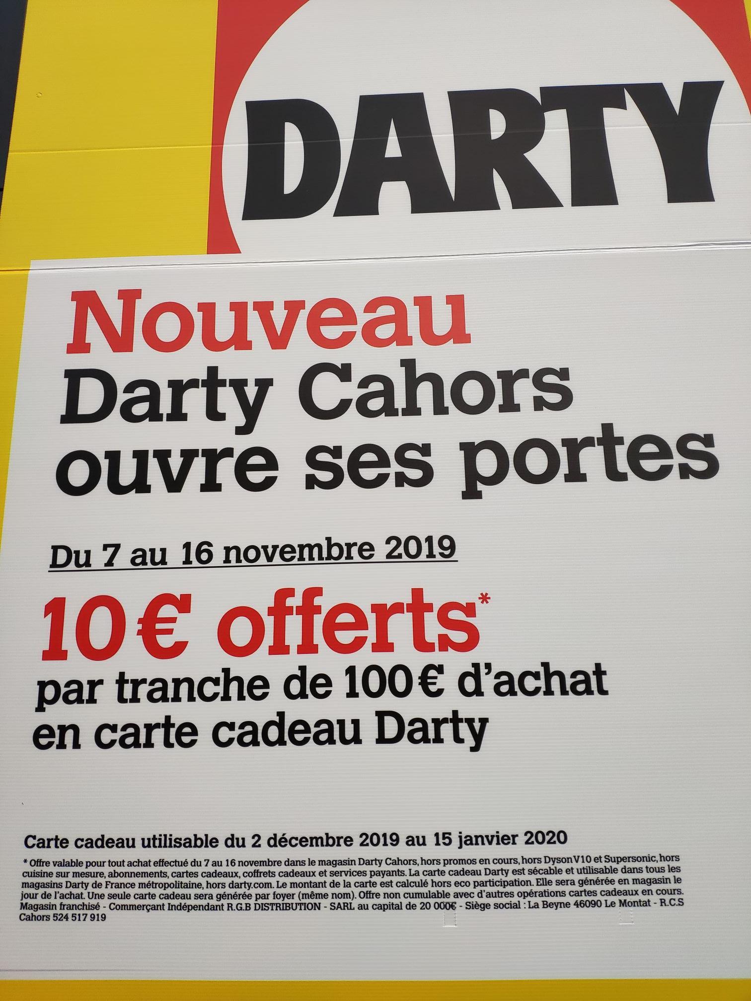 10€ offerts en carte cadeau tous les 100€ d'achat (hors exceptions) - Cahors (46)