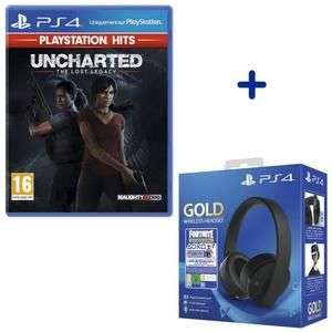 Jeu Uncharted - The Lost Legacy (PlayStation Hits) + Casque Sans Fil Sony Gold + Coupon Fortnite Neo Versa