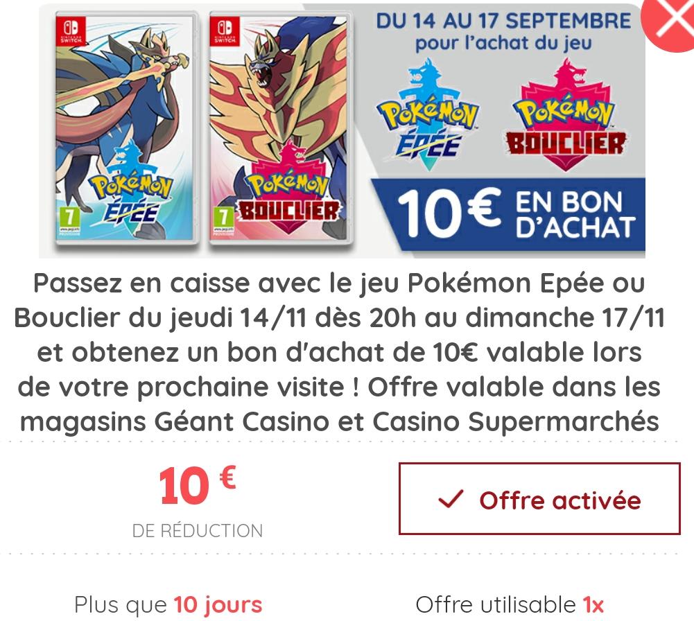 Pokémon Épée ou Bouclier sur Nintendo Switch + 10€ en bon d'achat (Via Casino Max)