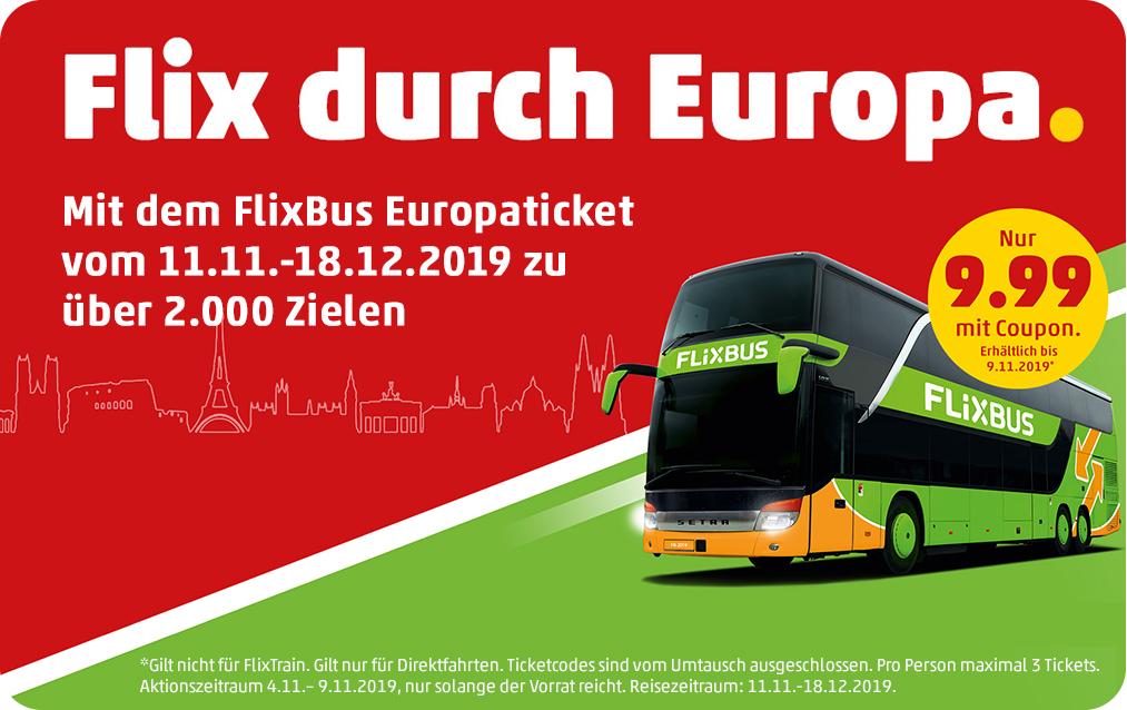 Billet de Bus Flixbus pour l'Europe - Penny-Kartenwelt.de