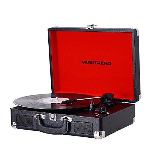 Platine Vinyle Valise Portable Musitrend avec 2 Haut Parleurs - Noir (Vendeur tiers)