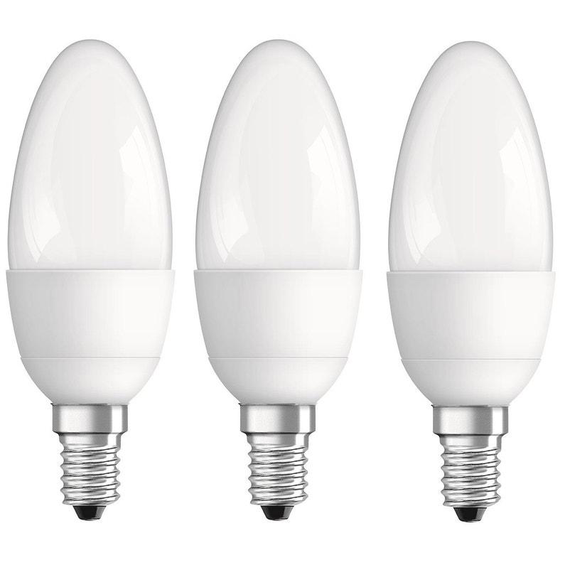 Lot de 3 ampoules flamme Osram E14 - Diam.35 mm, 5.7 W = 470 Lm, 2700 K, 230° (Mérignac 33)