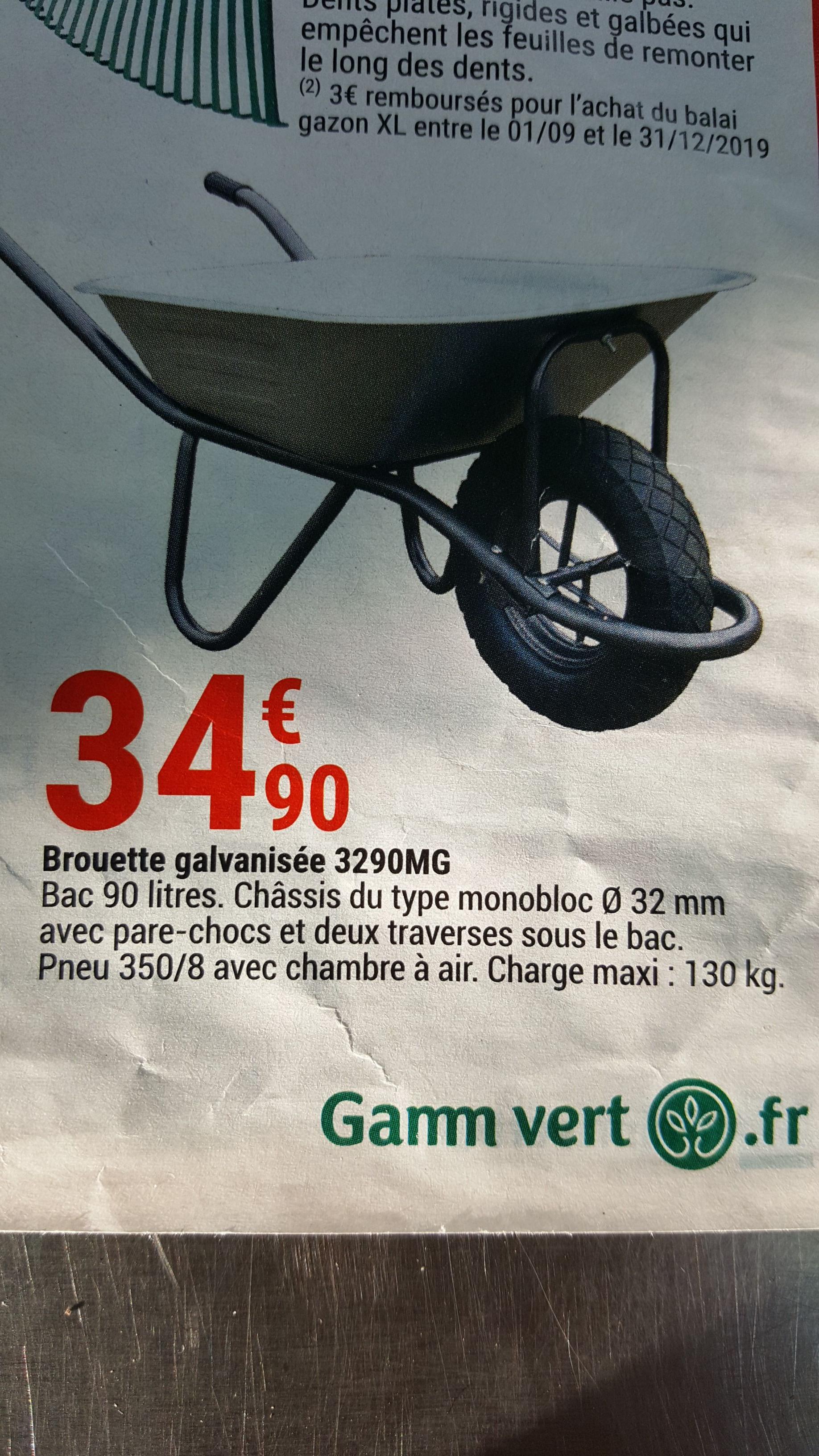 Brouette galvanisée - 90 litres, 130kg