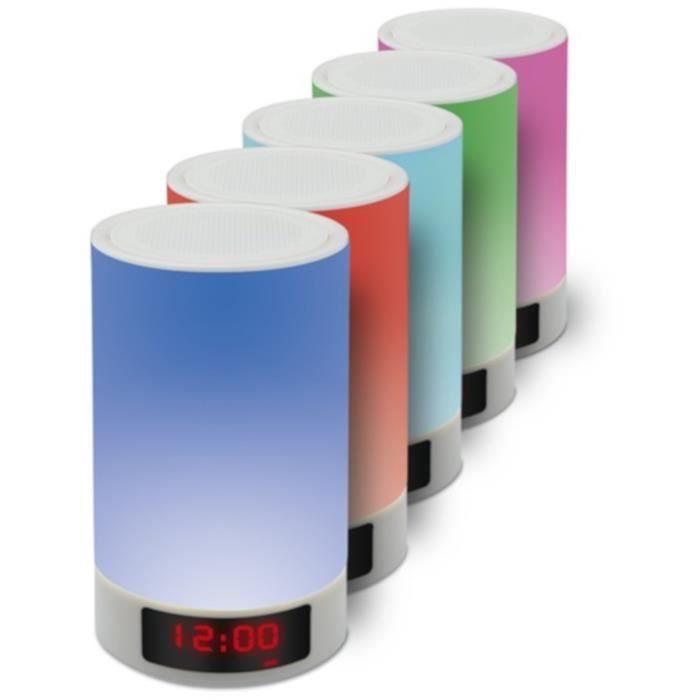 Enceinte Bluetooth APM (5W) - Lampe tactile (plusieurs couleurs et intensités), Affichage de l'heure avec Alarme, 4000 mAh, Micro SD + Aux