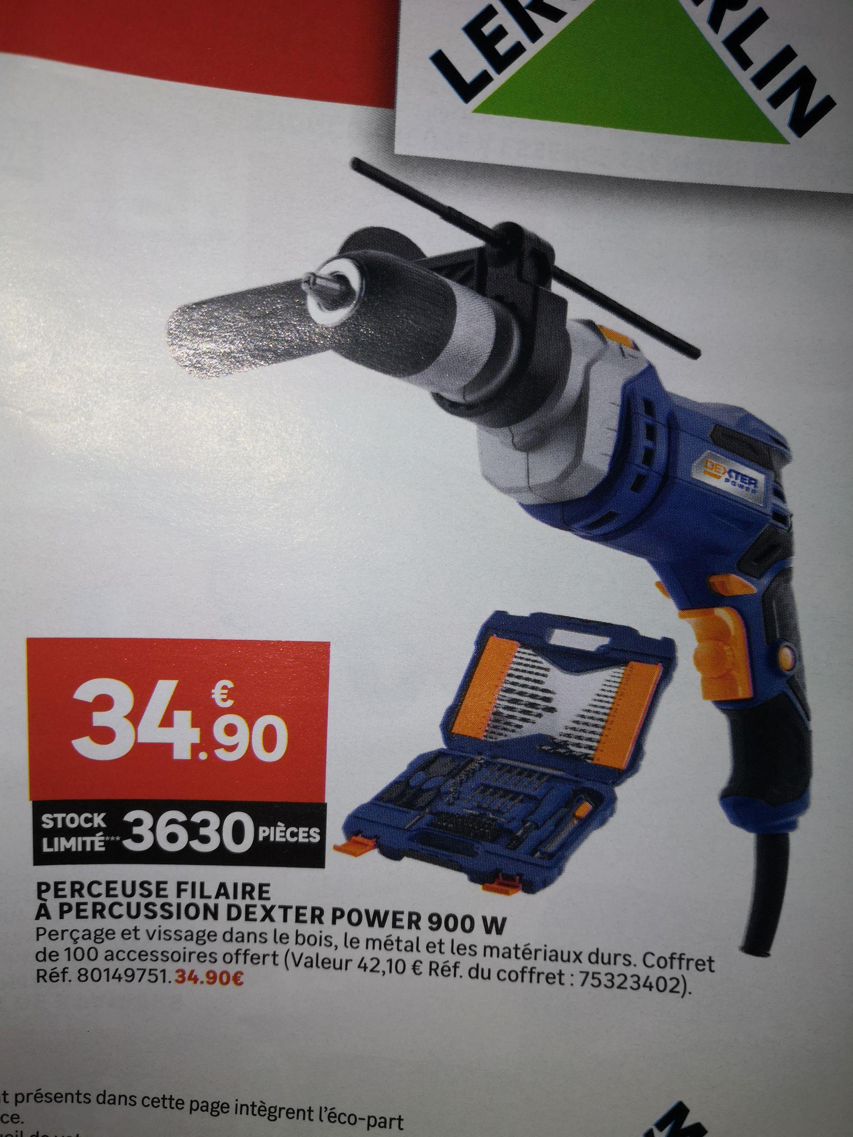 Perceuse filaire a percussion Dexter Power 900W + coffret 100 accessoires