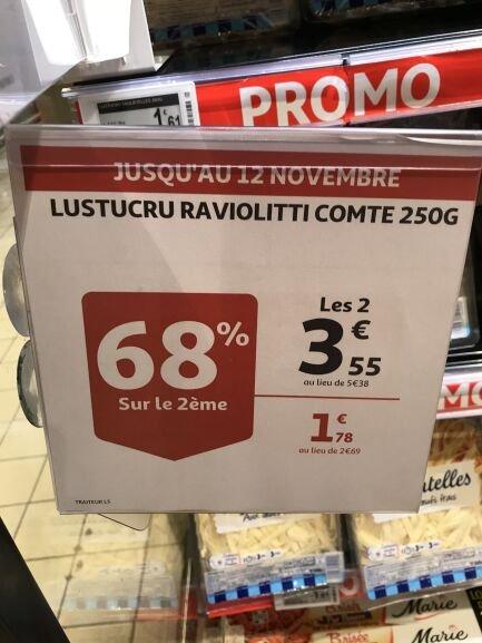 Lot de 2 paquets de Lustucru Raviolotti Comté (2x250gr) - Auchan St Loup Marseille (13)