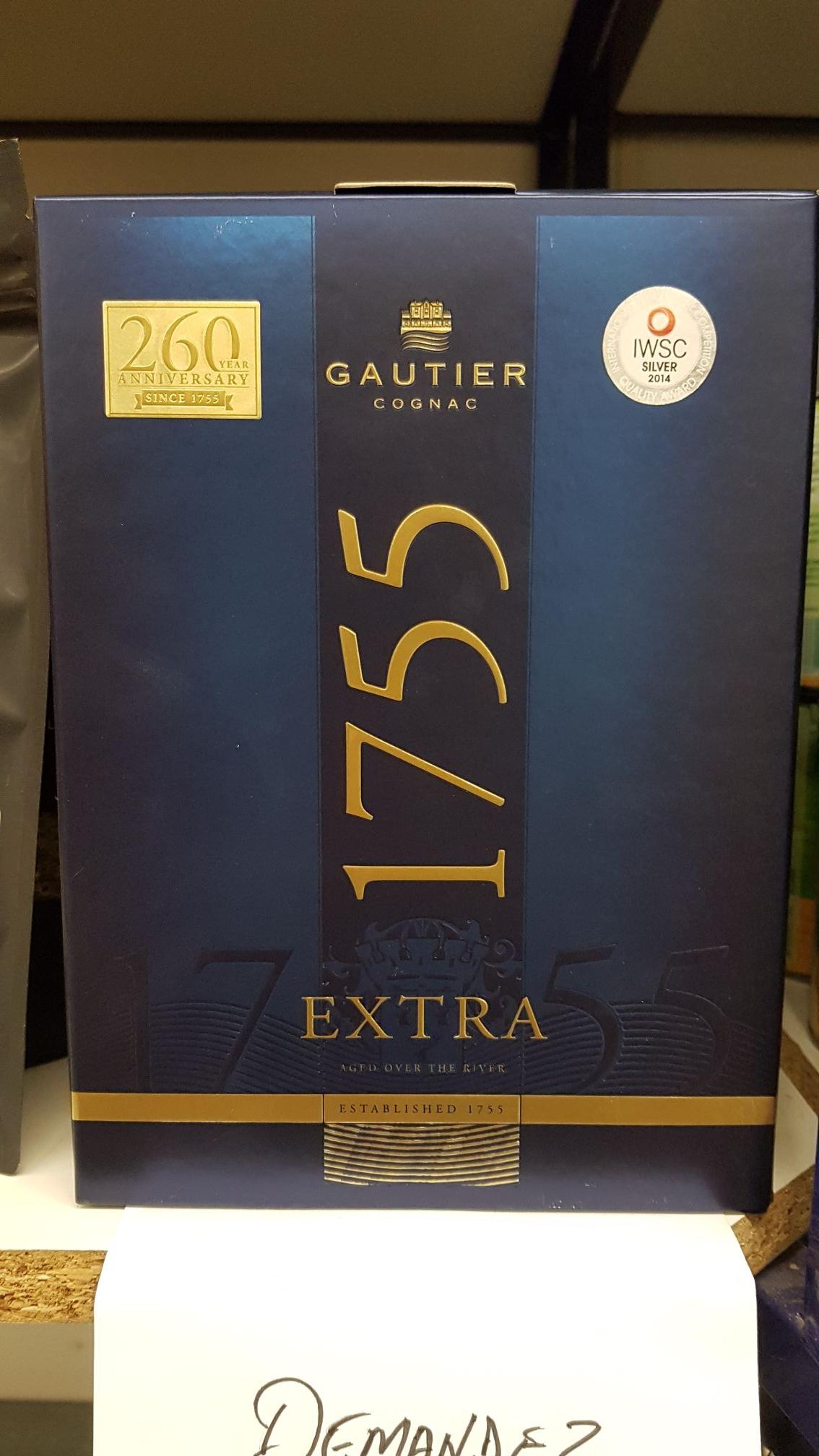 Bouteille de cognac Gautier Extra 1755 - 70 cl - Beaupréau (49), Nieppe (59)