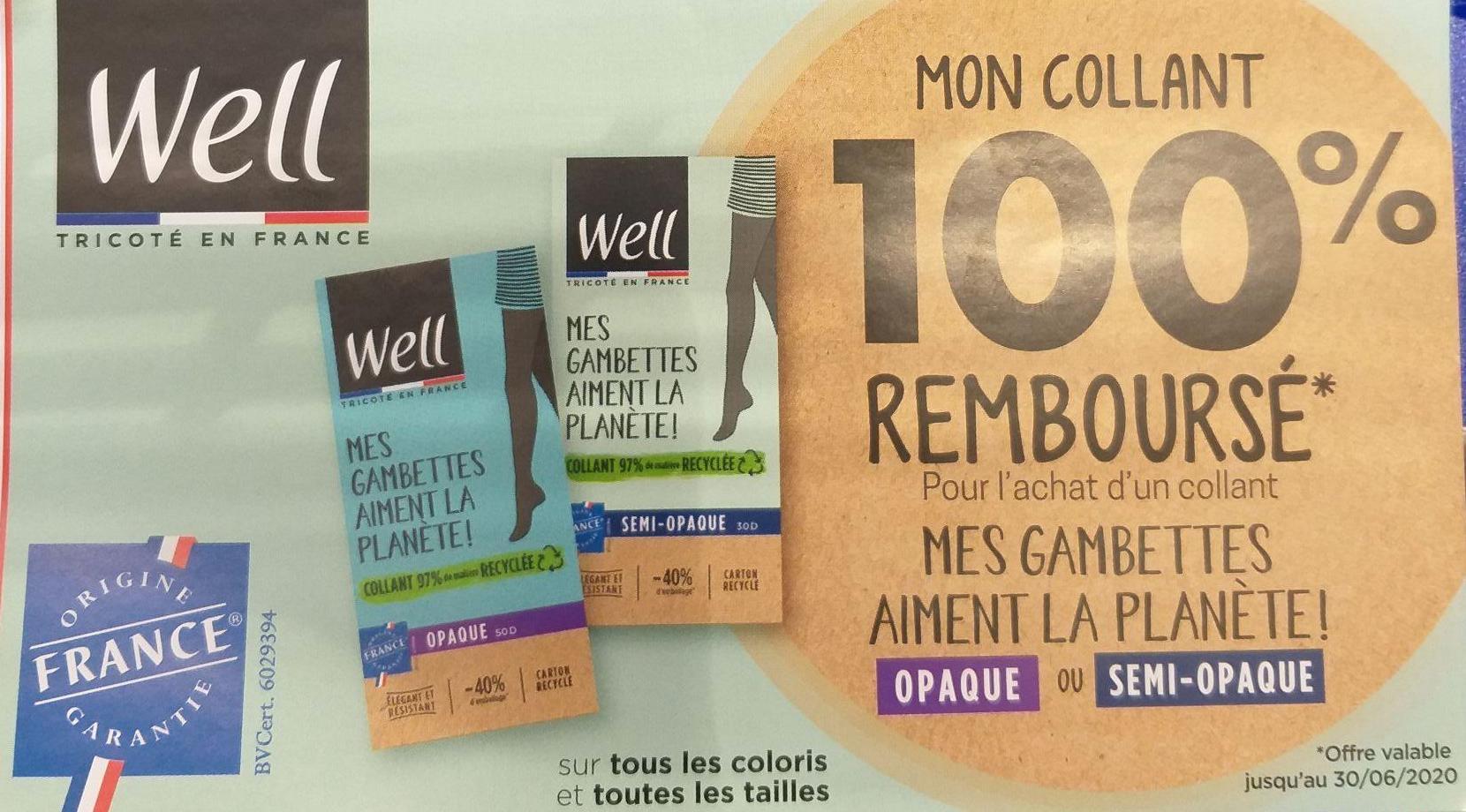Collant Well Gambettes Aiment La Planète 100% remboursé (Via ODR)