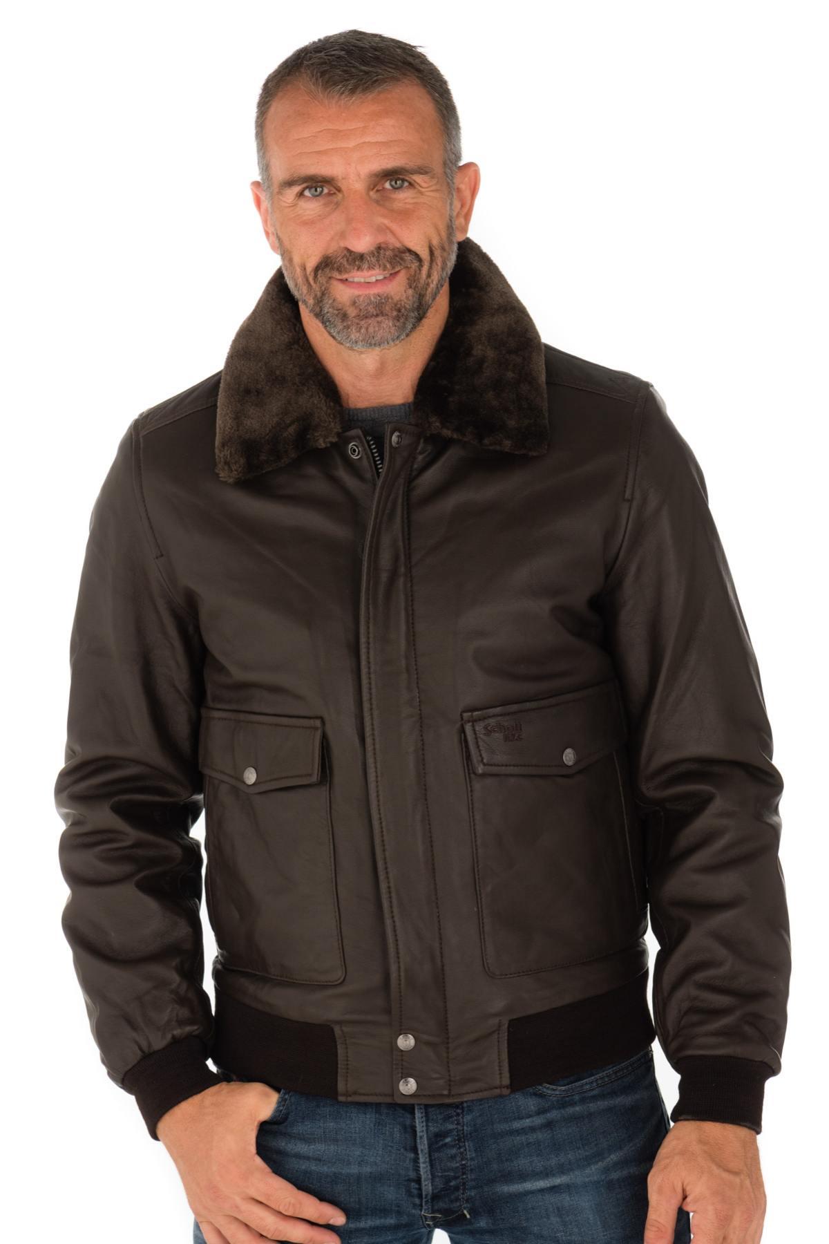 Blouson aviateur en cuir SCHOTT LCTOPGUN - Marron (cuir-city.com)