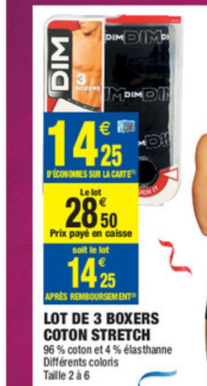 Sélection de produits DIM en promotion - Ex: Lot de 6 boxers pour Homme DIM (Via carte de fidélité et odr)