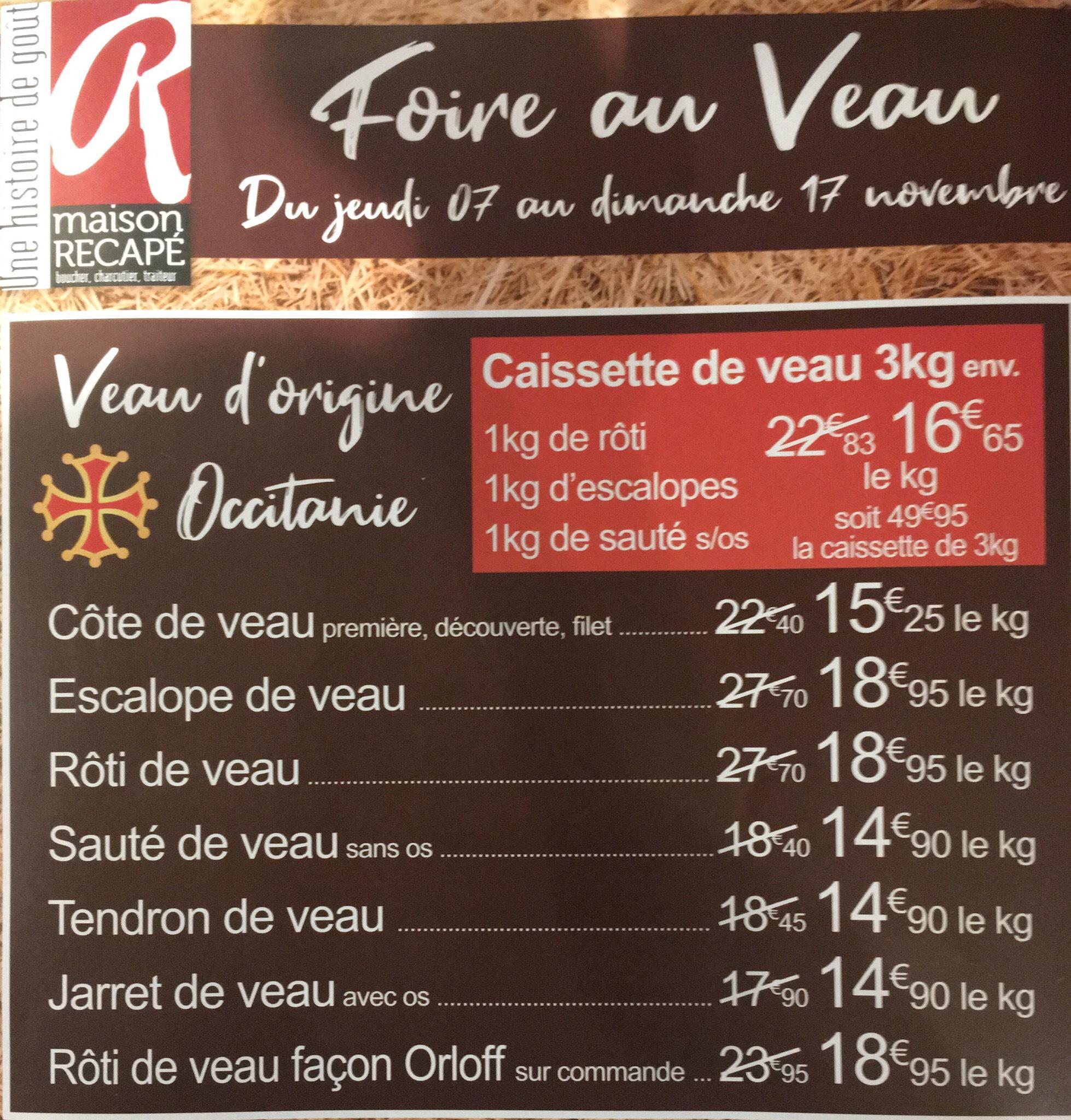 La foire au veau - Ex : Caissette de 3 kg de veau (recape.fr)