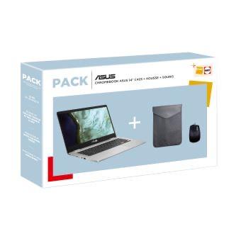 "PC Portable 14"" Chromebook Asus C423NA-EC0179 Celeron N3350, 4 Go RAM, 64 Go eMMC + Housse de transport + Souris optique"
